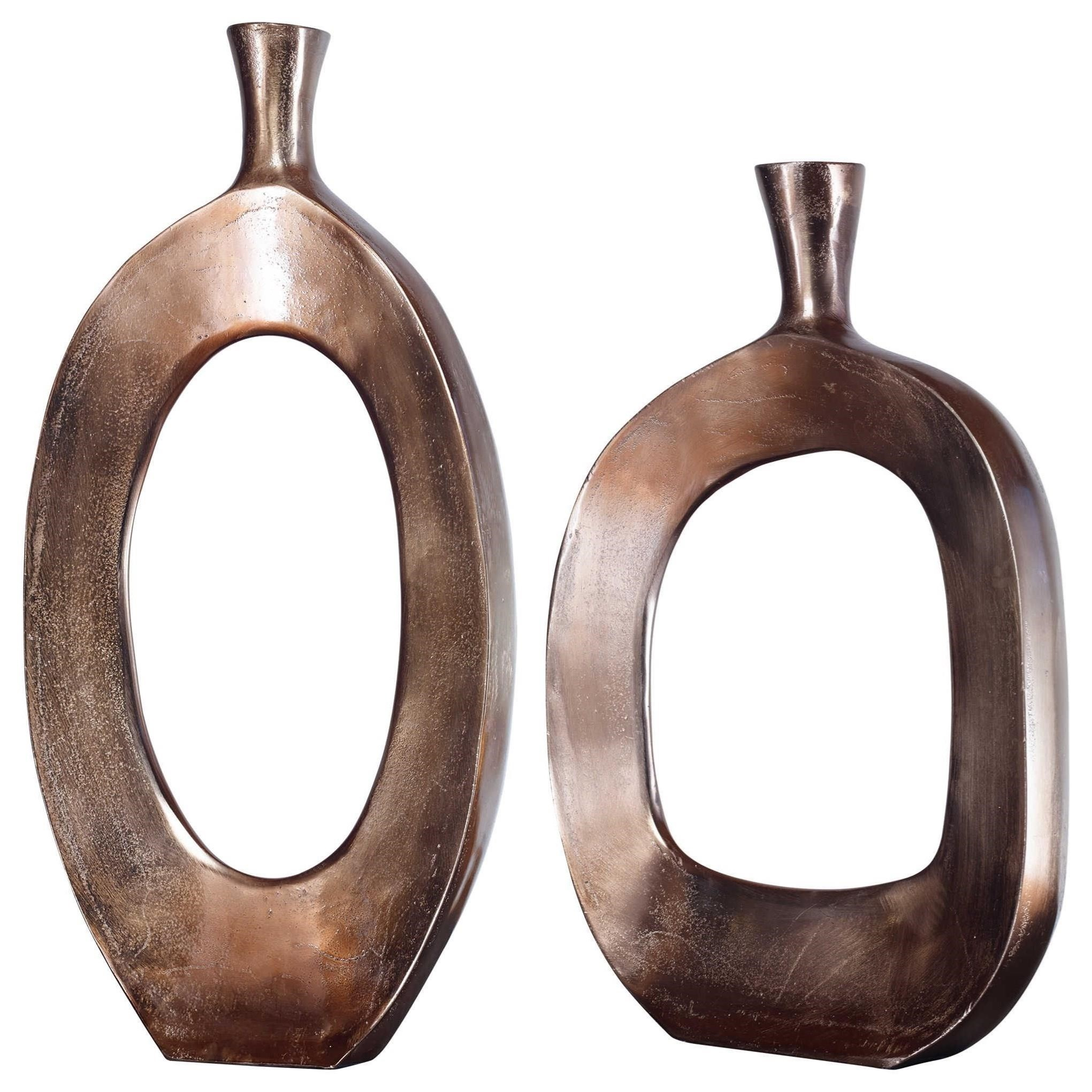 Kyler Textured Bronze Vases Set/2