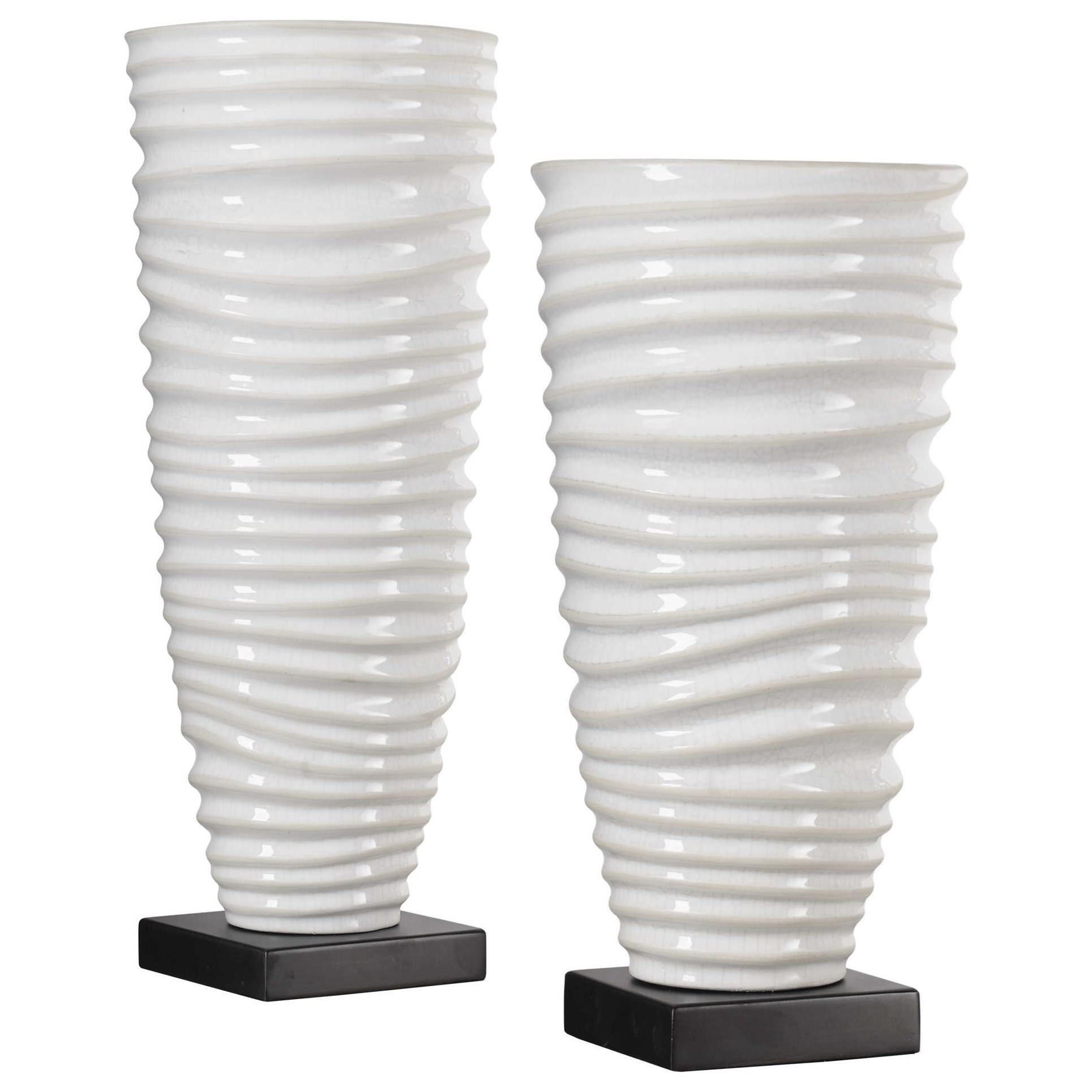 Accessories - Vases and Urns Kiera Aged White Vases, S/2 by Uttermost at Suburban Furniture