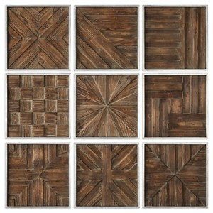 Uttermost Art Bryndle Rustic Wooden Squares Set of 9