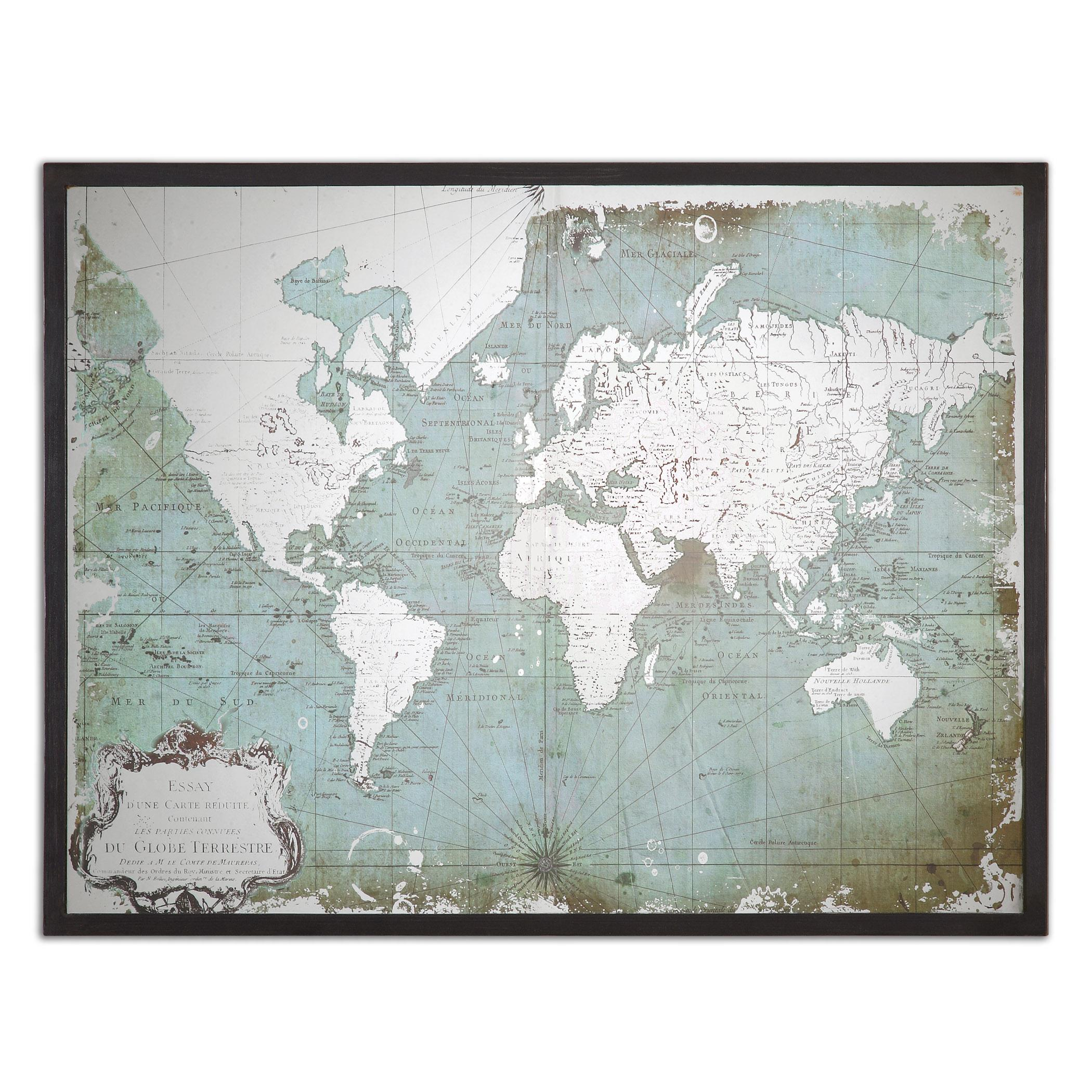 Uttermost Art Mirrored World Map - Item Number: 30400