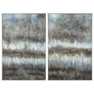 Uttermost Art Gray Reflections Landscape Art Set of 2