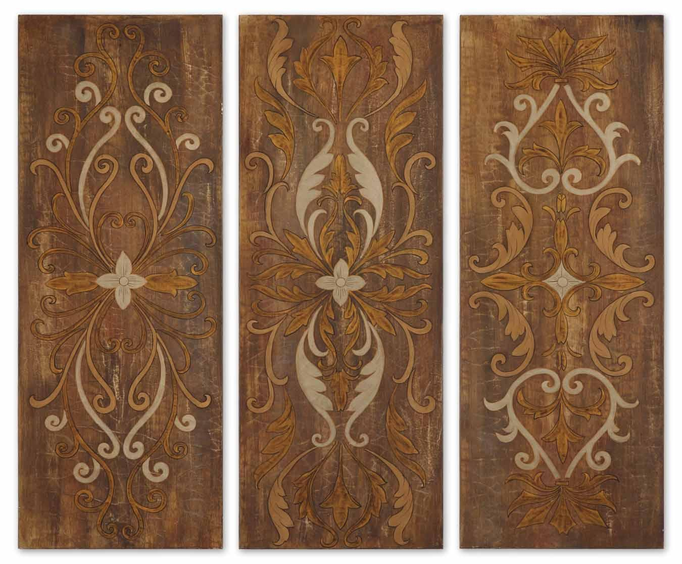 Uttermost Art Elegant Swirl Panels Set of 3 - Item Number: 32169