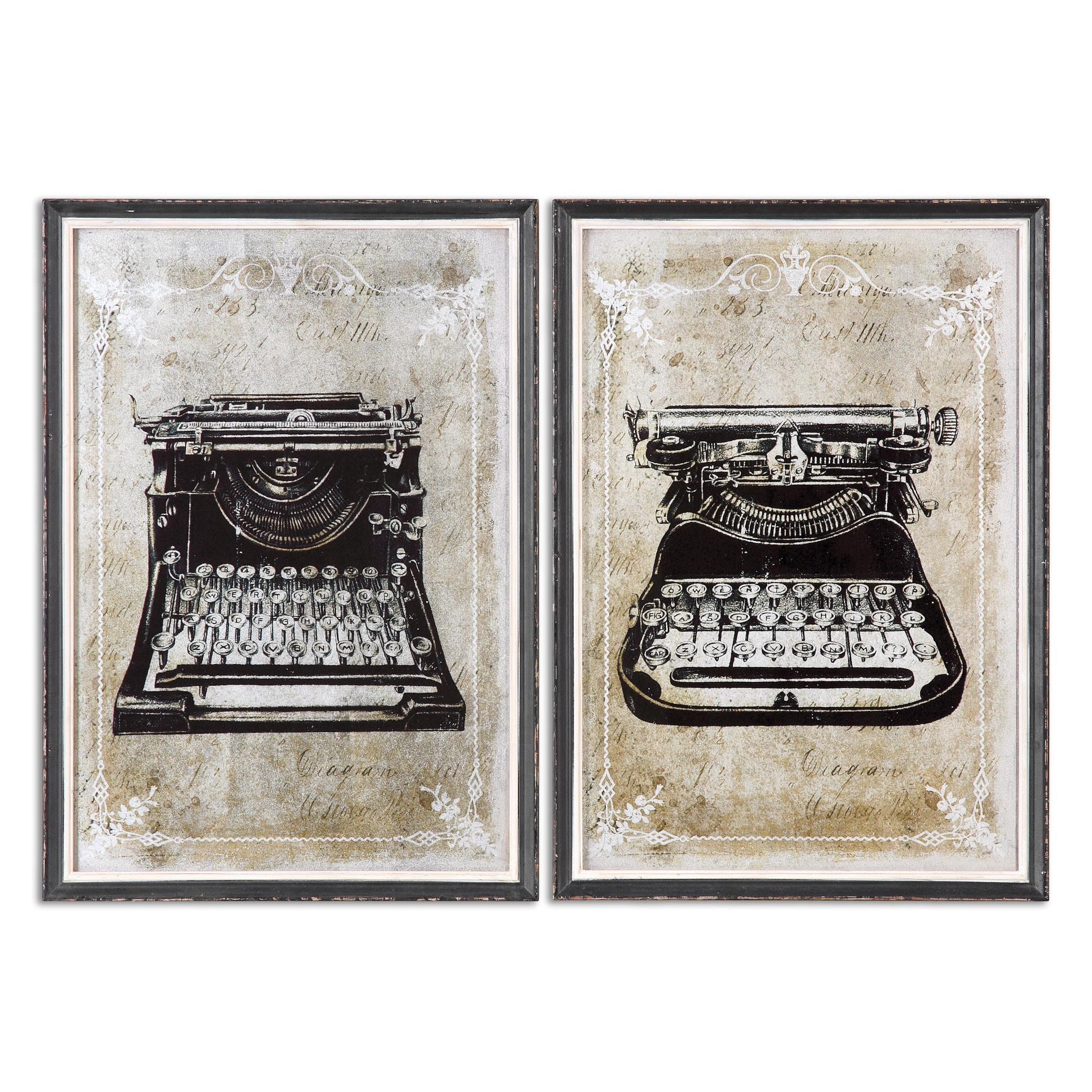 Uttermost Art Classic Typewriters Vintage Art, S/2 - Item Number: 32536
