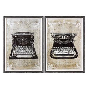 Uttermost Art Classic Typewriters Vintage Art, S/2