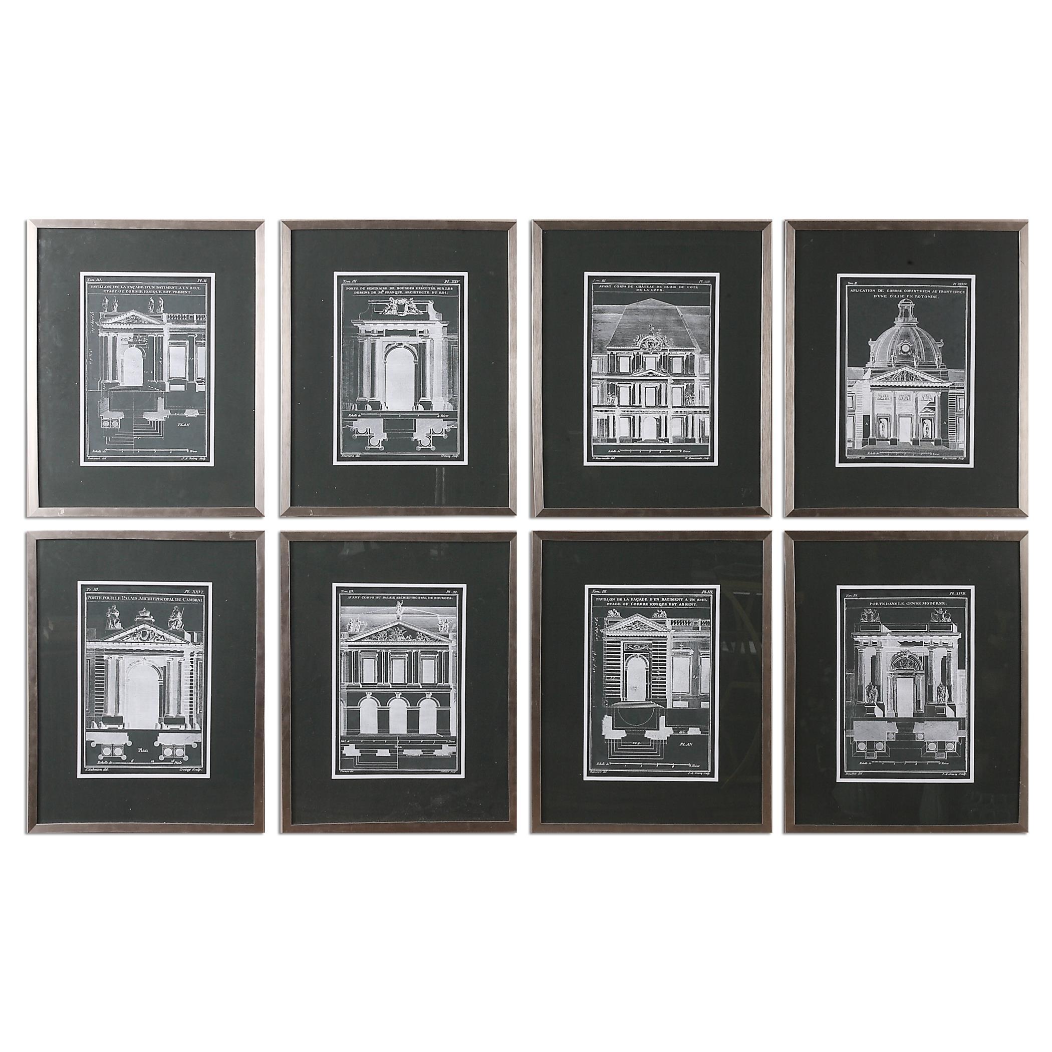 Uttermost Art Architecturals Vintage Art, S/8 - Item Number: 33610