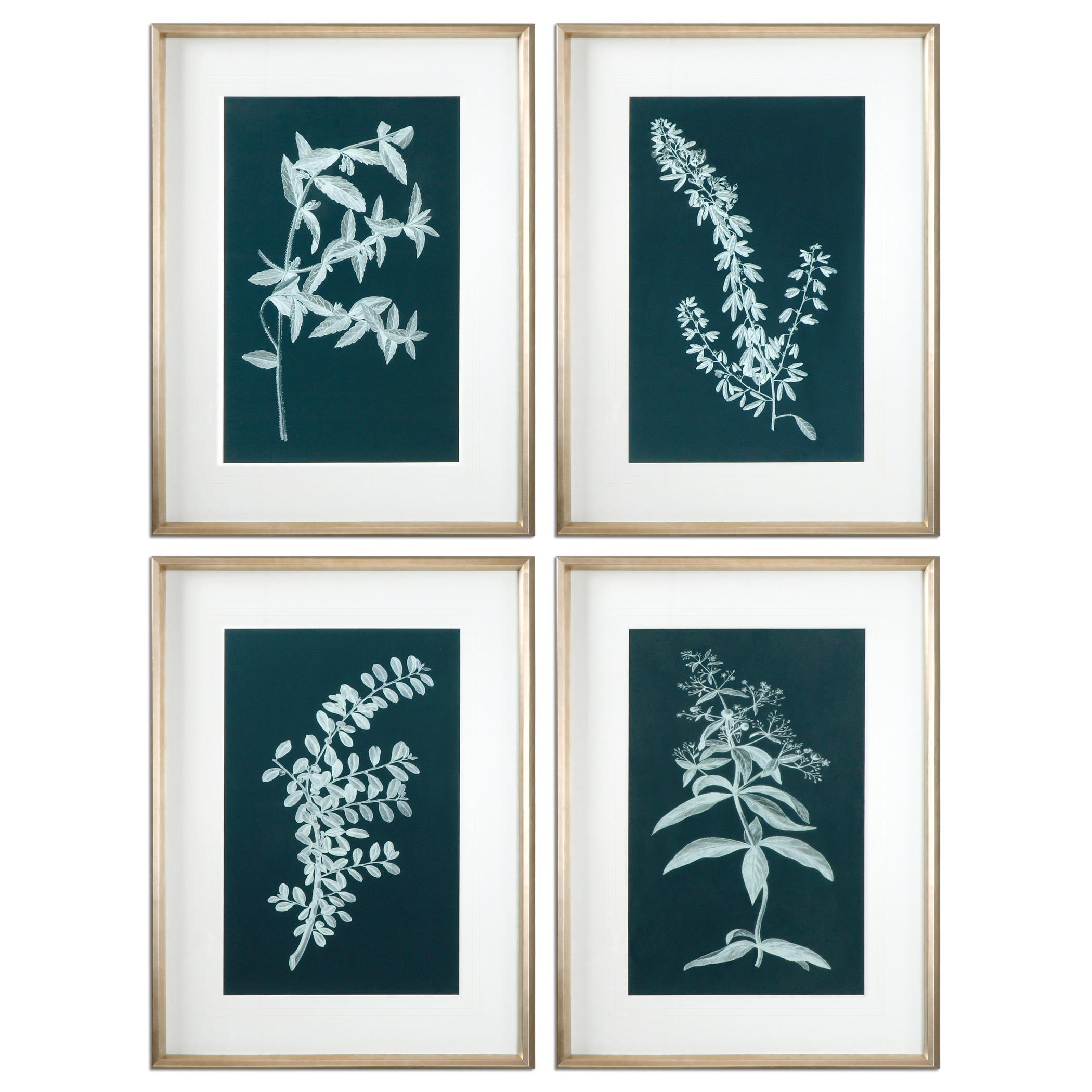 Uttermost Art Pale Stems Of Spring Floral Art, S/4 - Item Number: 33613