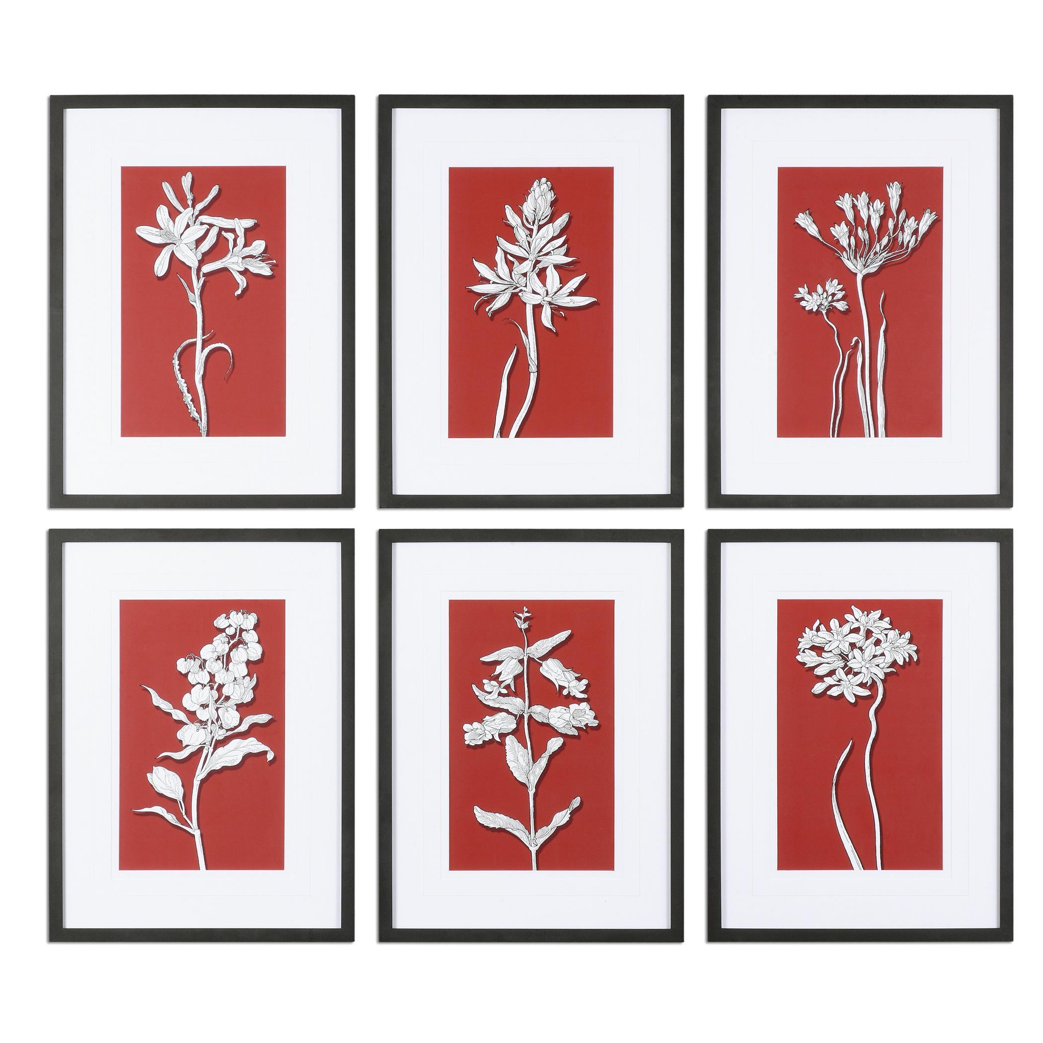 Uttermost Art Ghost Floral Prints, S/6 - Item Number: 33614