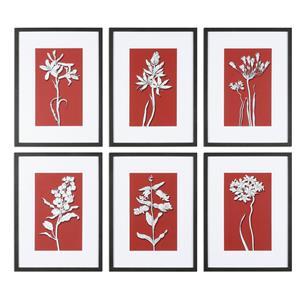Uttermost Art Ghost Floral Prints, S/6
