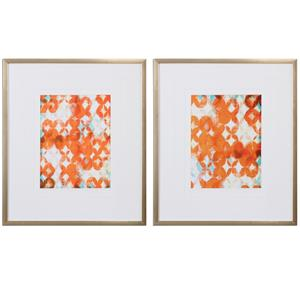 Overlapping Teal And Orange Modern Art, S/2