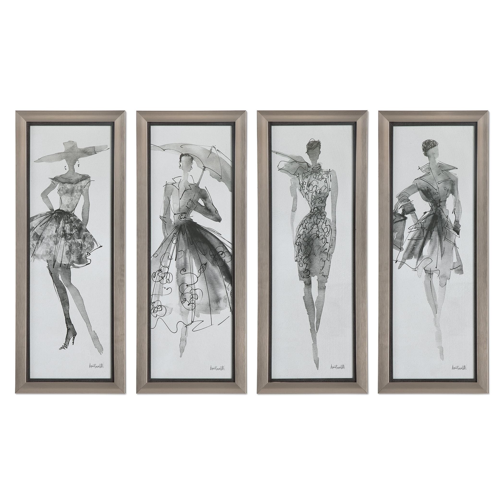 Uttermost Art Fashion Sketchbook Art, S/4 - Item Number: 33624