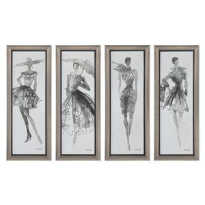 Uttermost Art Fashion Sketchbook Art, S/4
