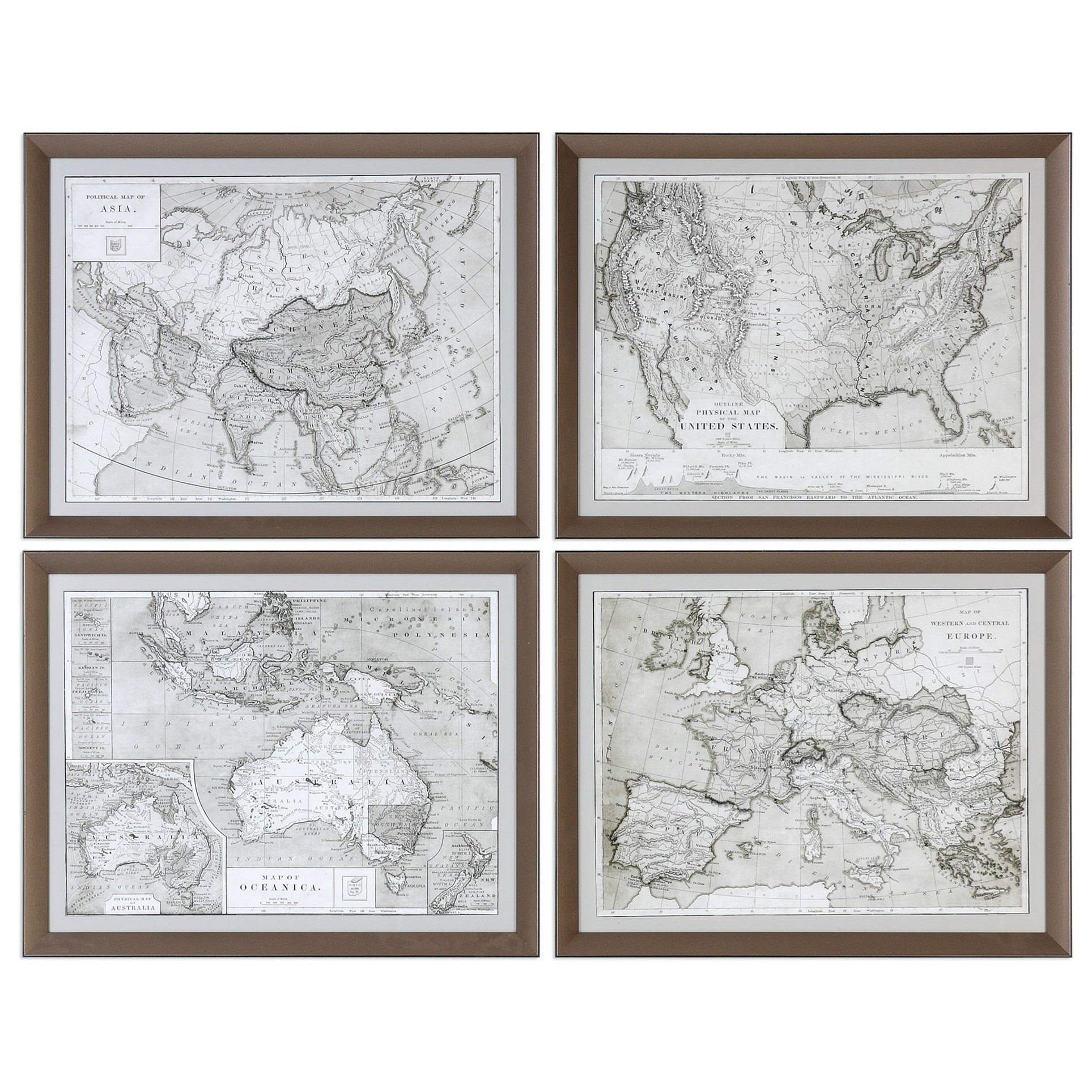 Uttermost Art World Maps (Set of 4) - Item Number: 33639