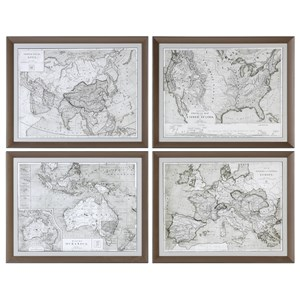 Uttermost Art World Maps (Set of 4)