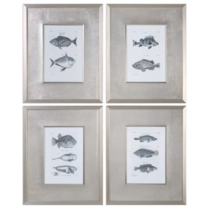 Uttermost Art  Blue Fish Framed Prints (Set of 4)