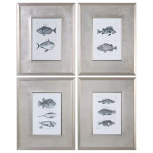 Uttermost Art  Blue Fish Framed Prints (Set of 4)