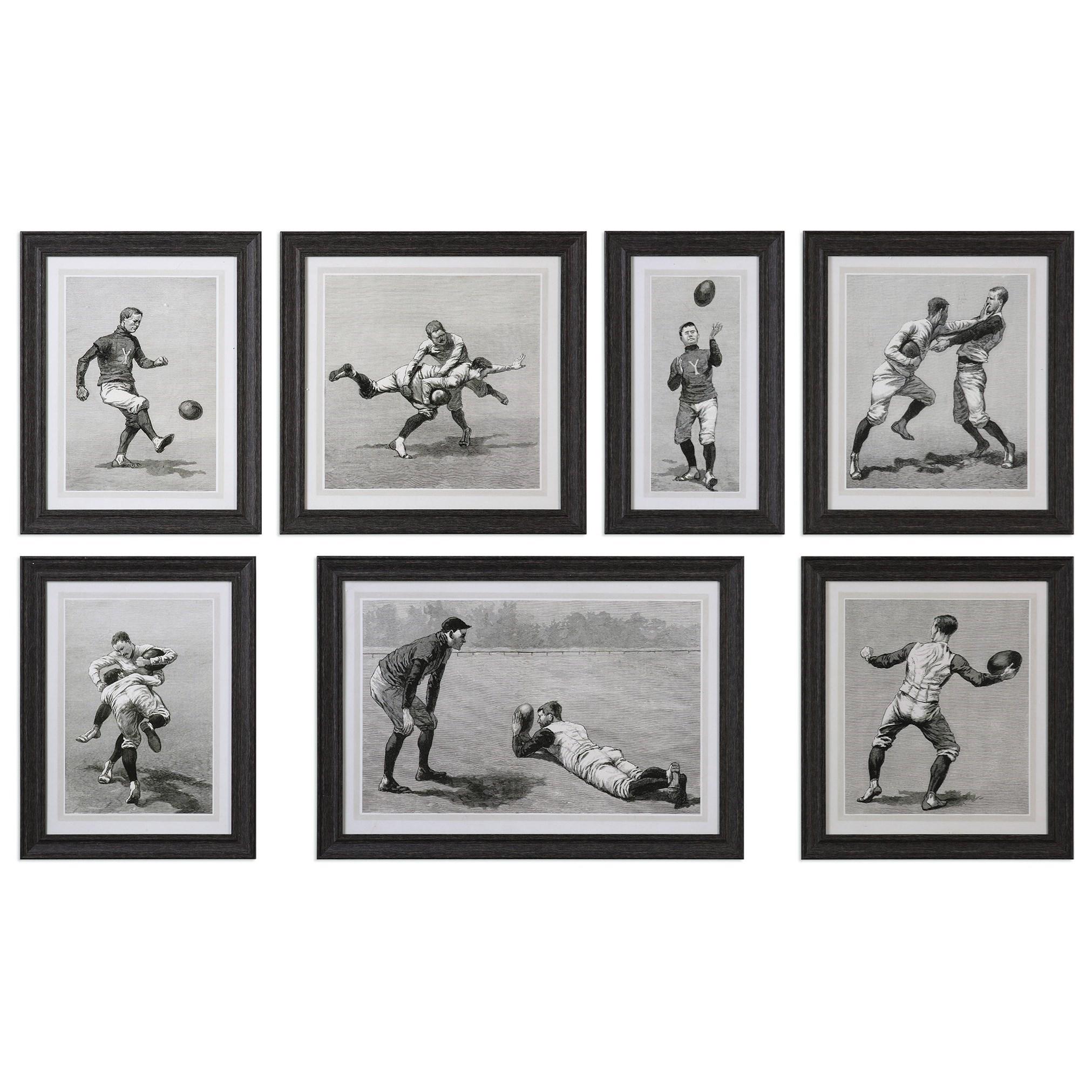 Uttermost Art Vintage Football Techniques (Set of 7) - Item Number: 33655