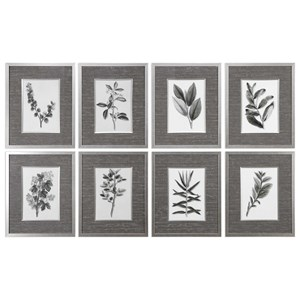 Uttermost Art Sepia Gray Leaves Prints (Set of 8)