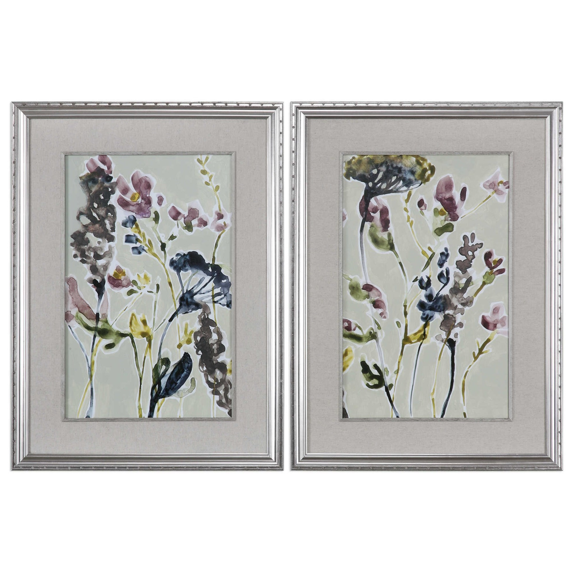 Parchment Flower Field Prints, Set of 2