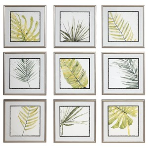 Art Set of 9 Verdant Impressions Leaf Prints by Uttermost
