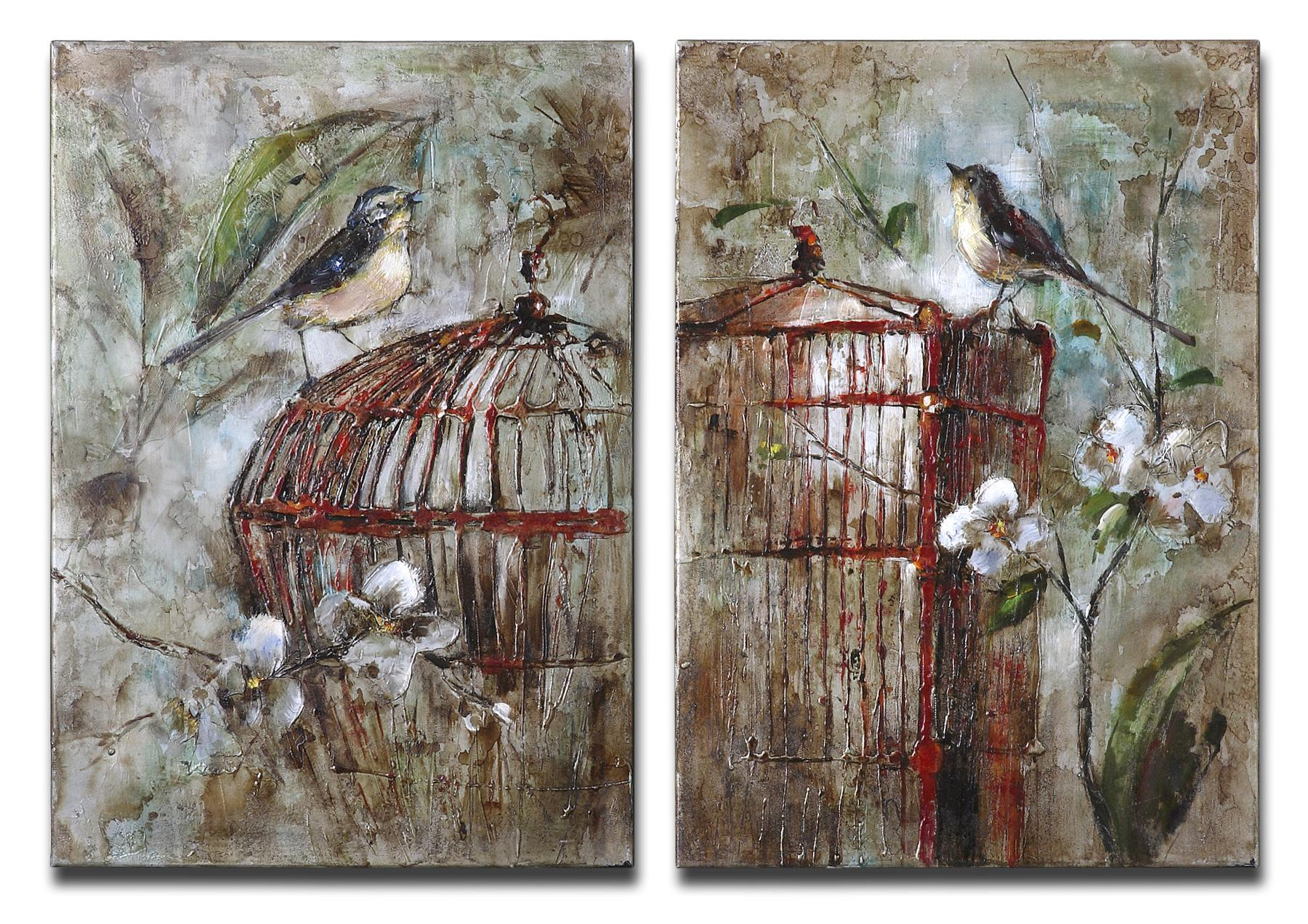 Uttermost Art Birds In A Cage Set of 2 - Item Number: 34226