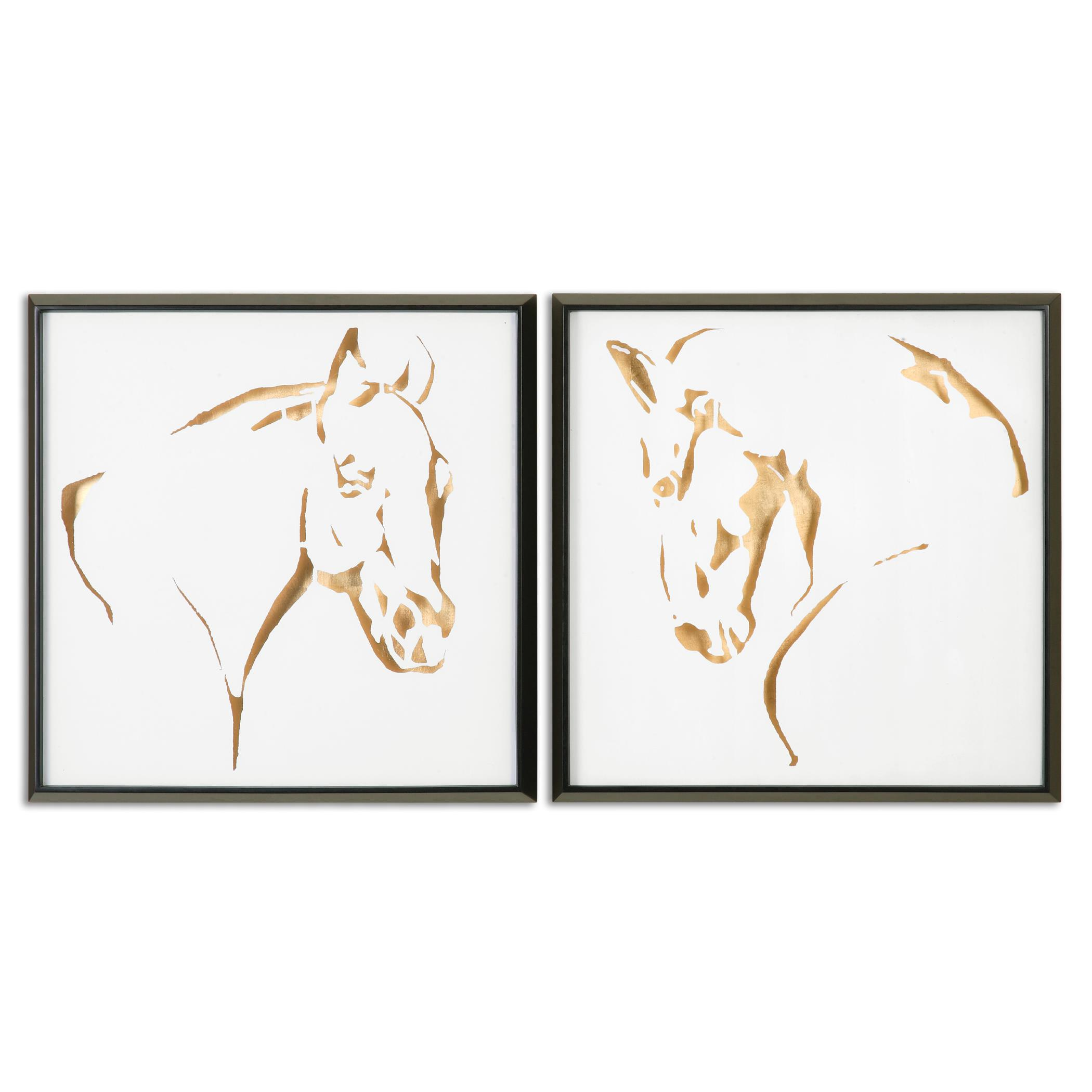 Uttermost Art Golden Horses Framed Art, S/2 - Item Number: 34302