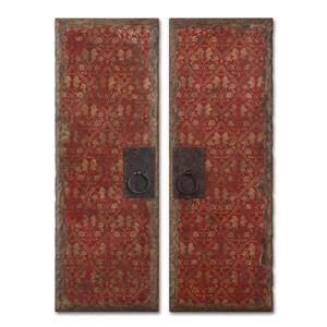 Uttermost Art Red Door Panels Set of 2