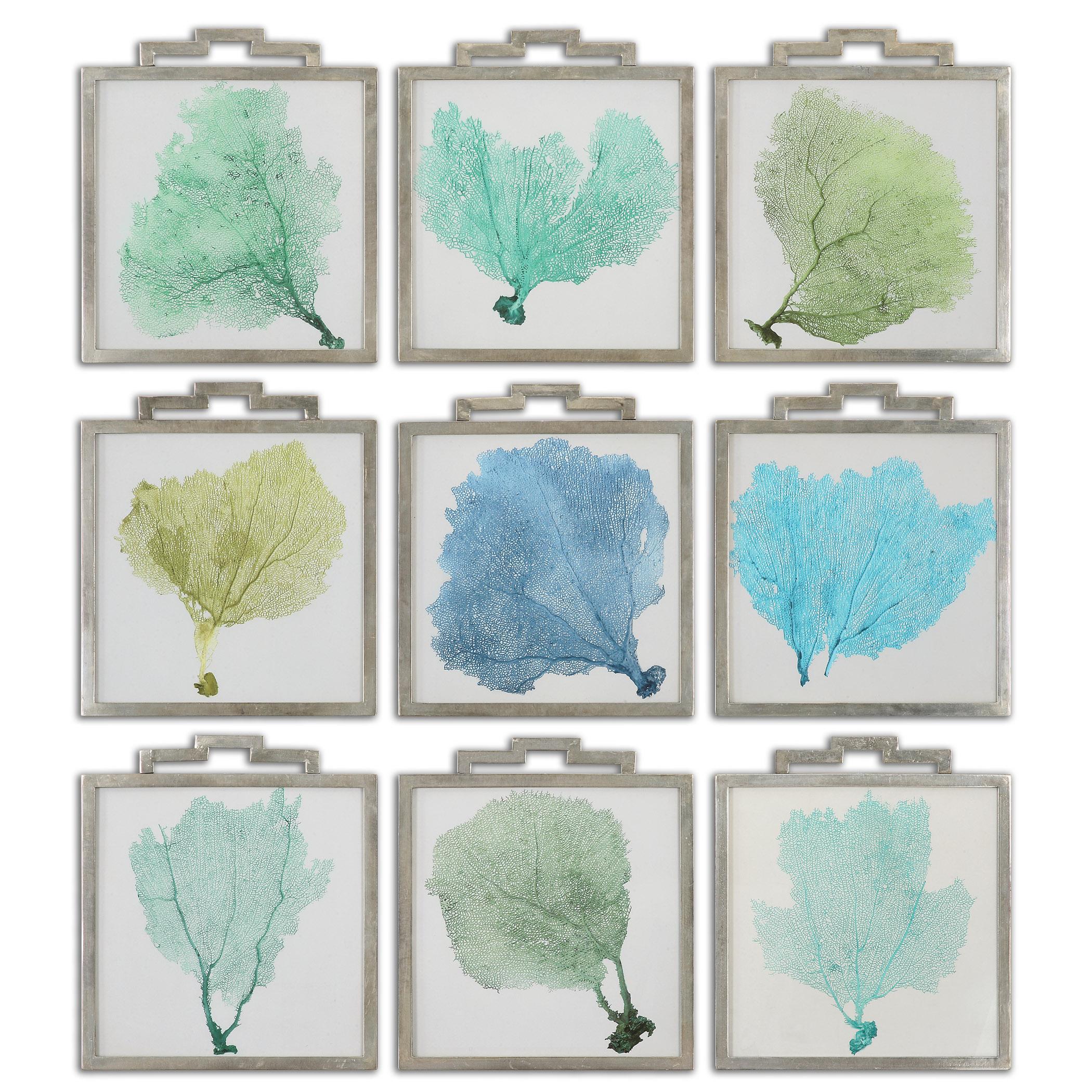 Uttermost Art Sea Fans Framed Art Set of 9 - Item Number: 35239