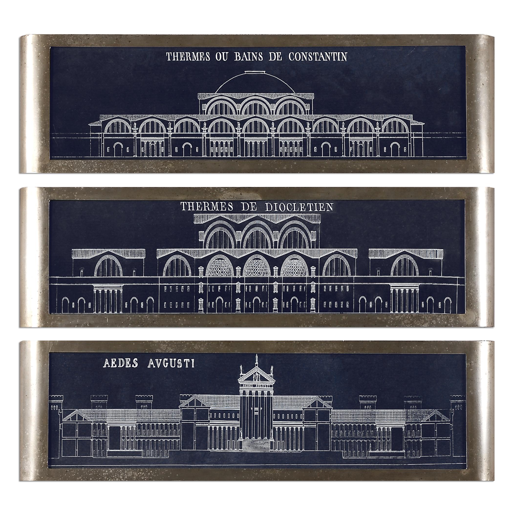 Uttermost Art Architectural Blueprints Art S/3 - Item Number: 35243