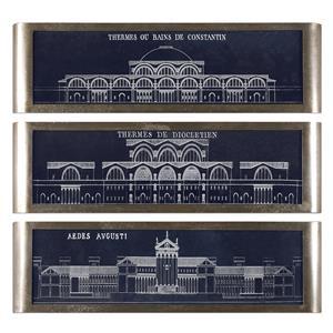 Uttermost Art Architectural Blueprints Art S/3