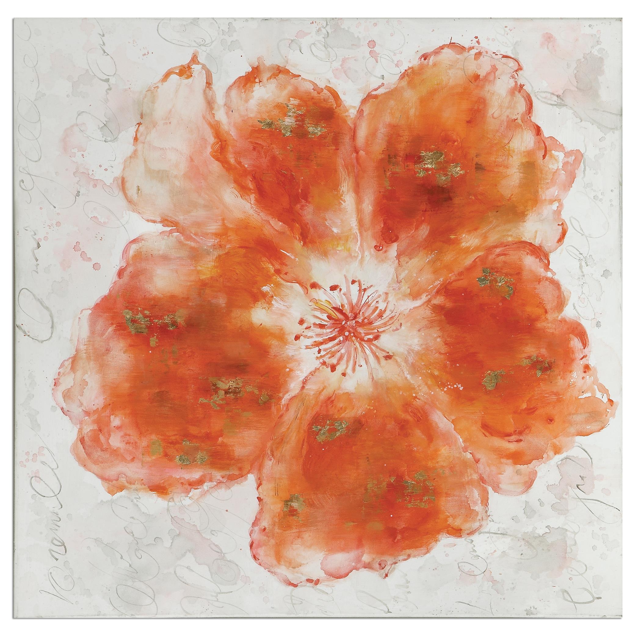 Uttermost Art Crushed Orange Floral Art - Item Number: 35323
