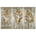 Uttermost Art Champagne Leaves (Set of 3) - Item Number: 35334