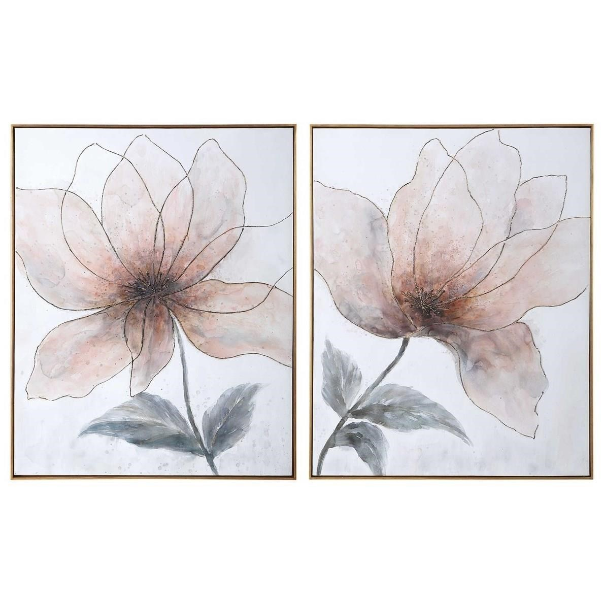 Vanishing Blooms Hand Painted Canvases, Set/