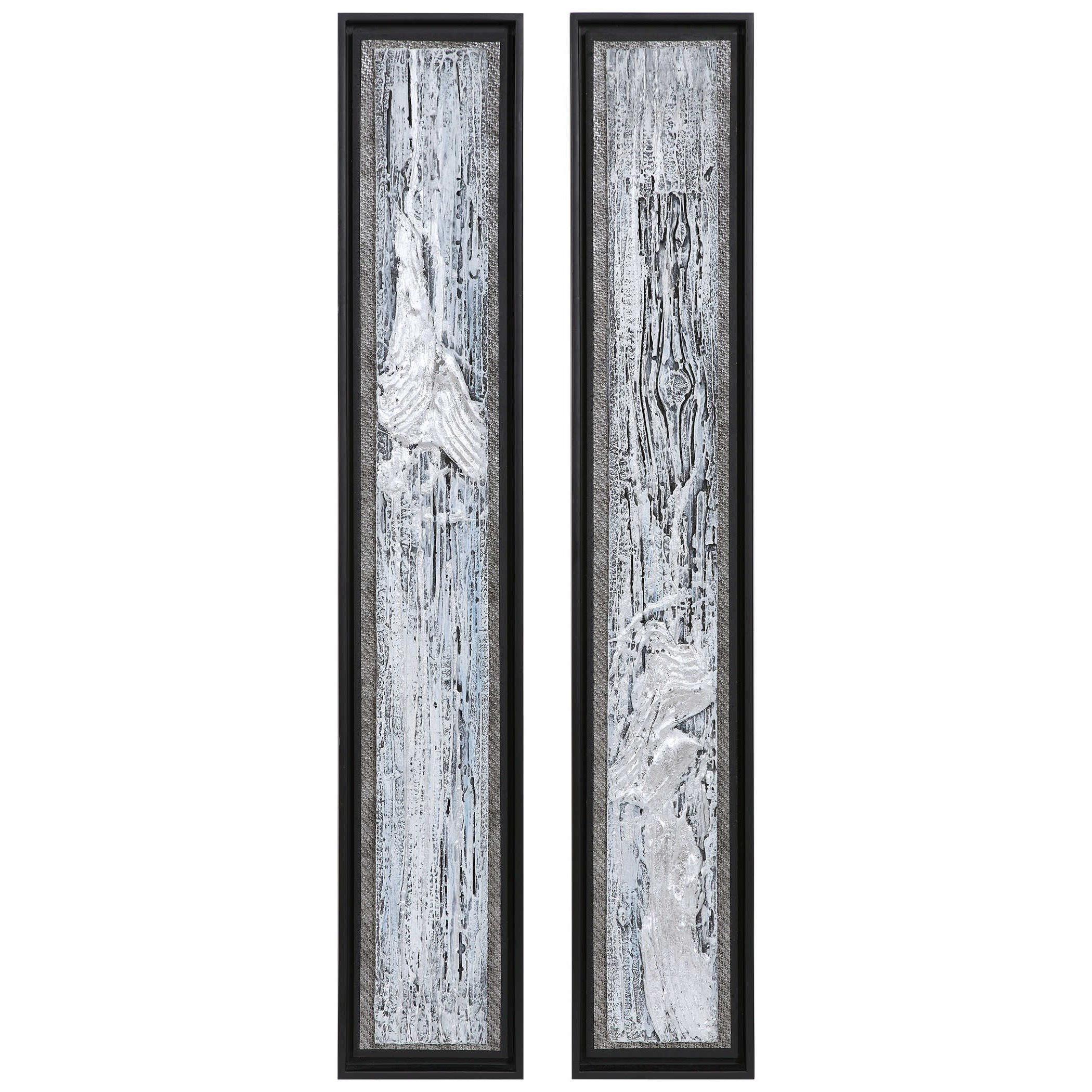 Silver Lining Textured Abstract Art, S/2