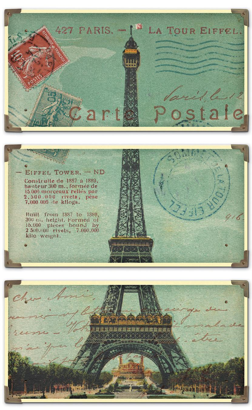 Uttermost Art Eiffel Tower Carte Postale Set of 3 - Item Number: 40917