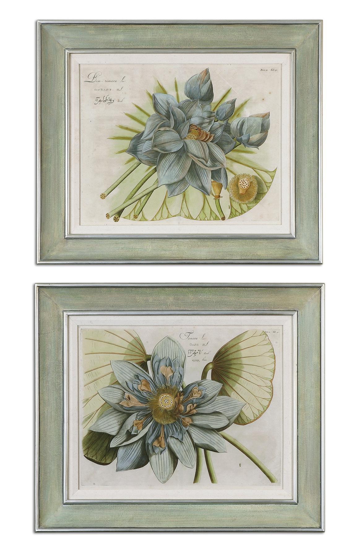 Uttermost Art Blue Lotus Flower Set of 2 - Item Number: 41325