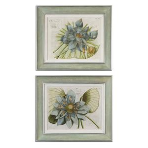 Uttermost Art Blue Lotus Flower Set of 2