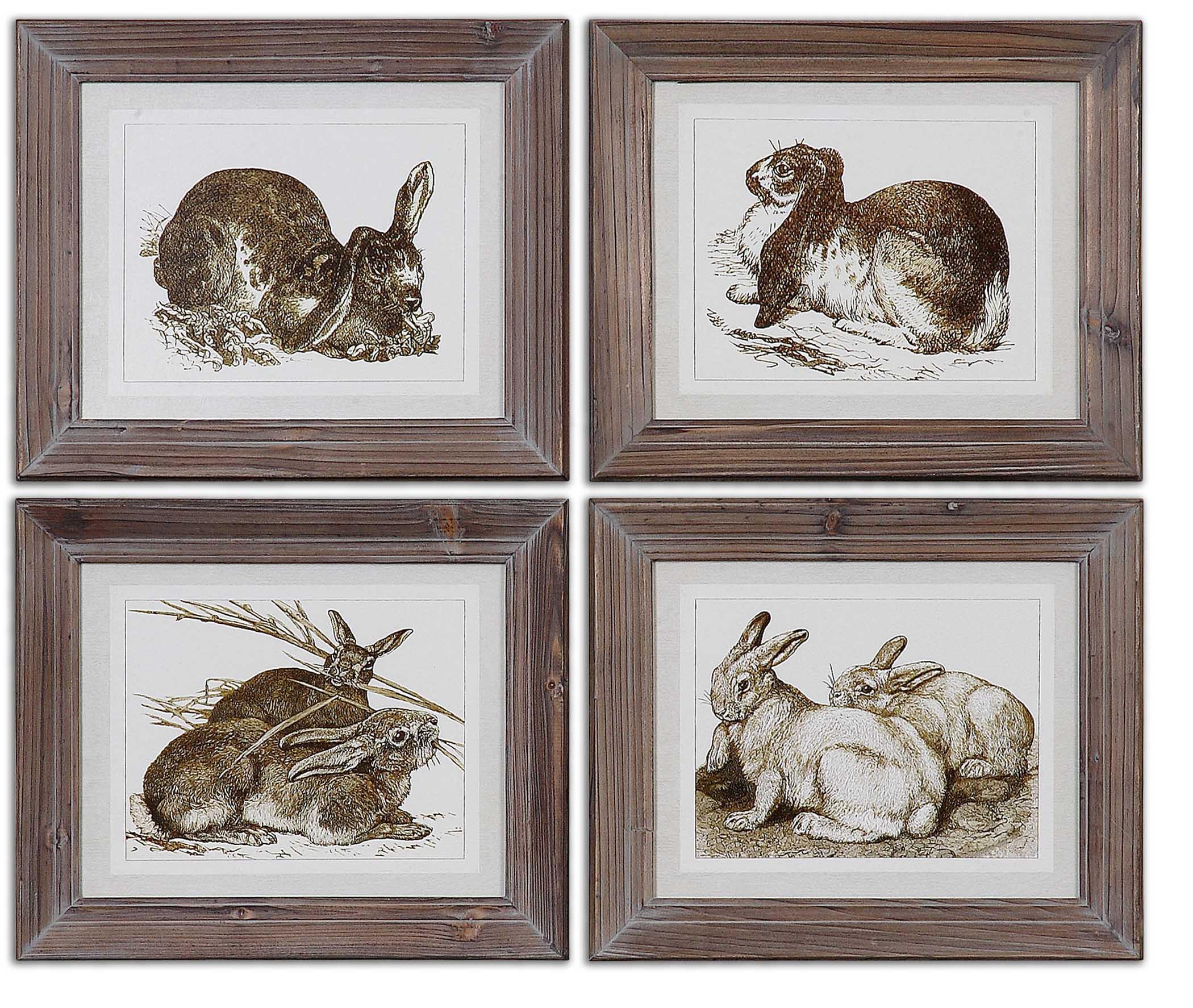 Uttermost Art Regal Rabbits Framed Art - Item Number: 41392