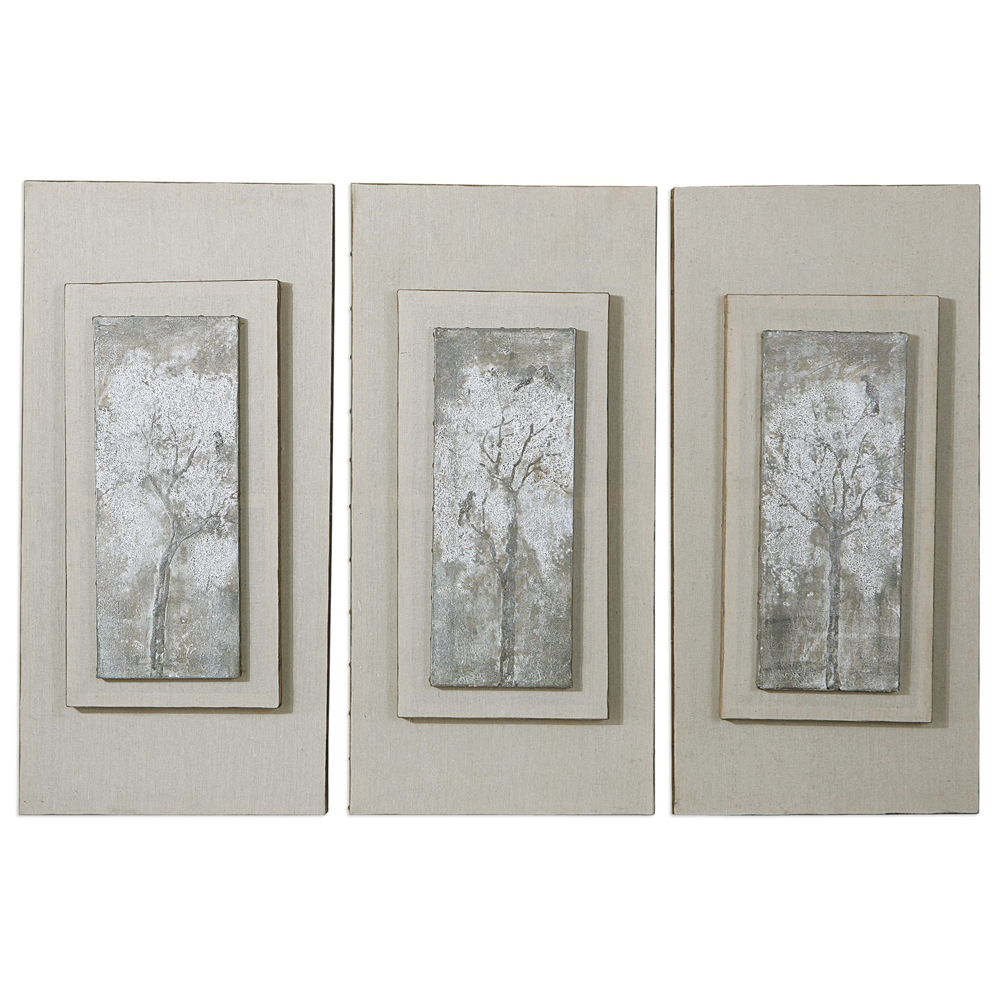 Art  Triptych Trees Hand Painted Art (Set of 3) by Uttermost at Sprintz Furniture