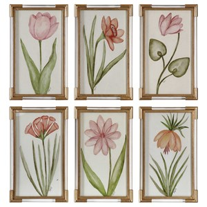 Pretty In Pink Floral Art Set of 6