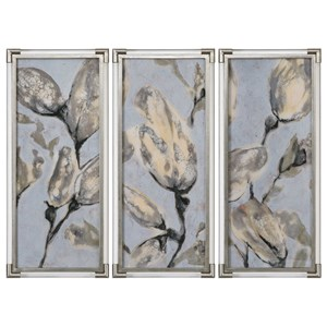 Uttermost Art Flower Bud Triptych, Set of 3