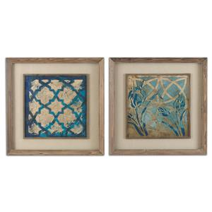 Stained Glass Indigo Art Set of 2