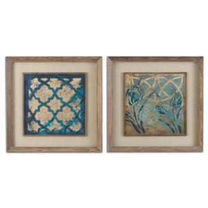 Uttermost Art Stained Glass Indigo Art Set of 2