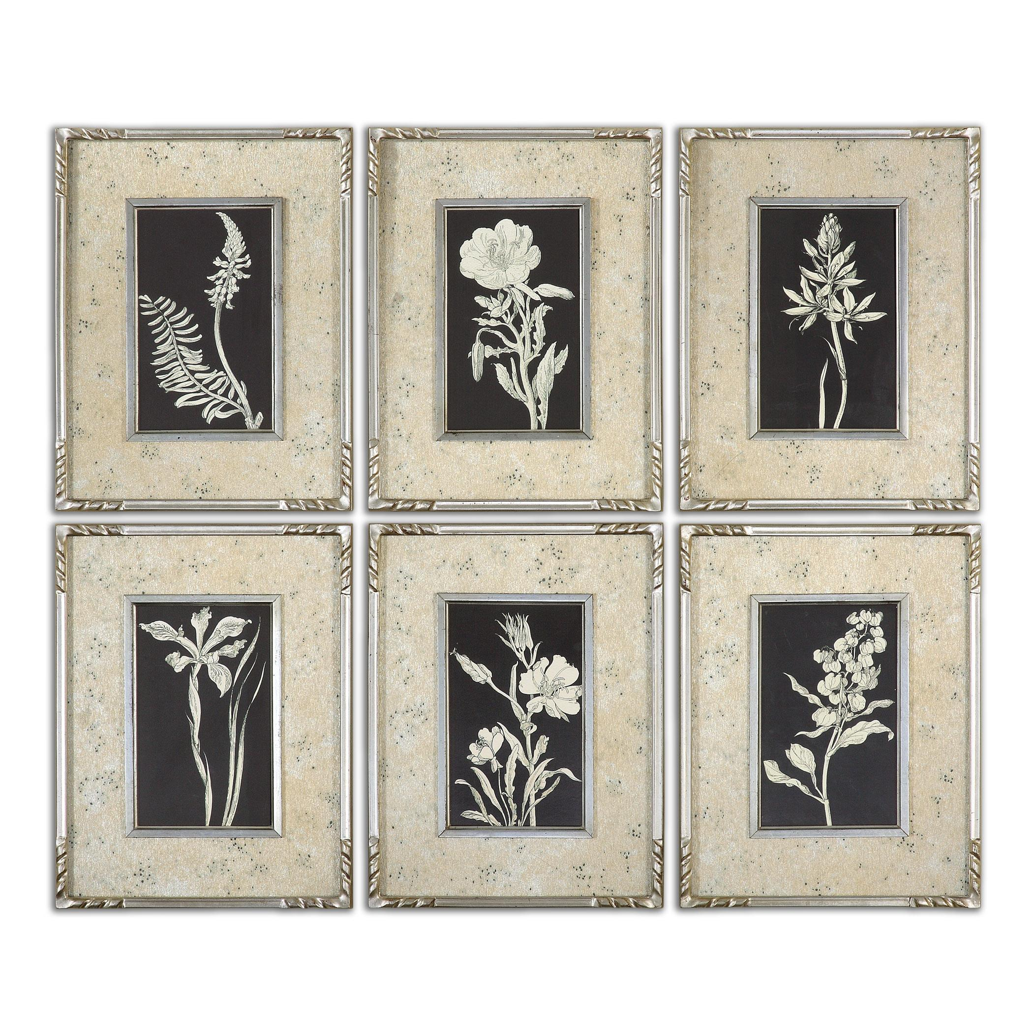 Uttermost Art Glowing Florals Framed Art, Set of 6 - Item Number: 41535