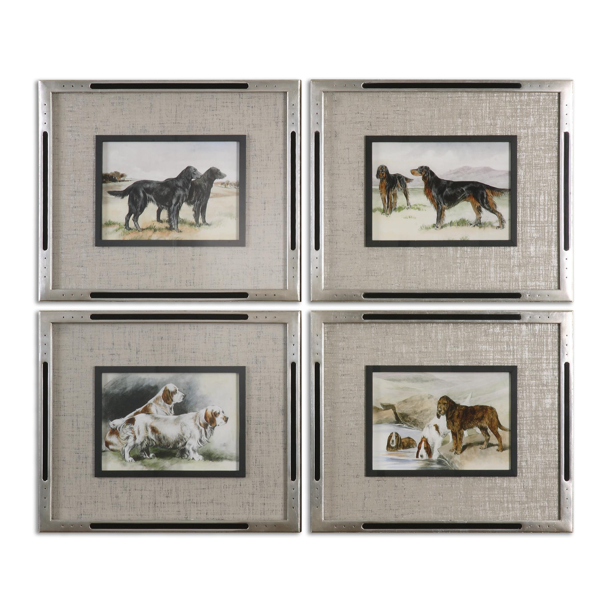 Uttermost Art Working Dogs Framed Art, S/4 - Item Number: 41541