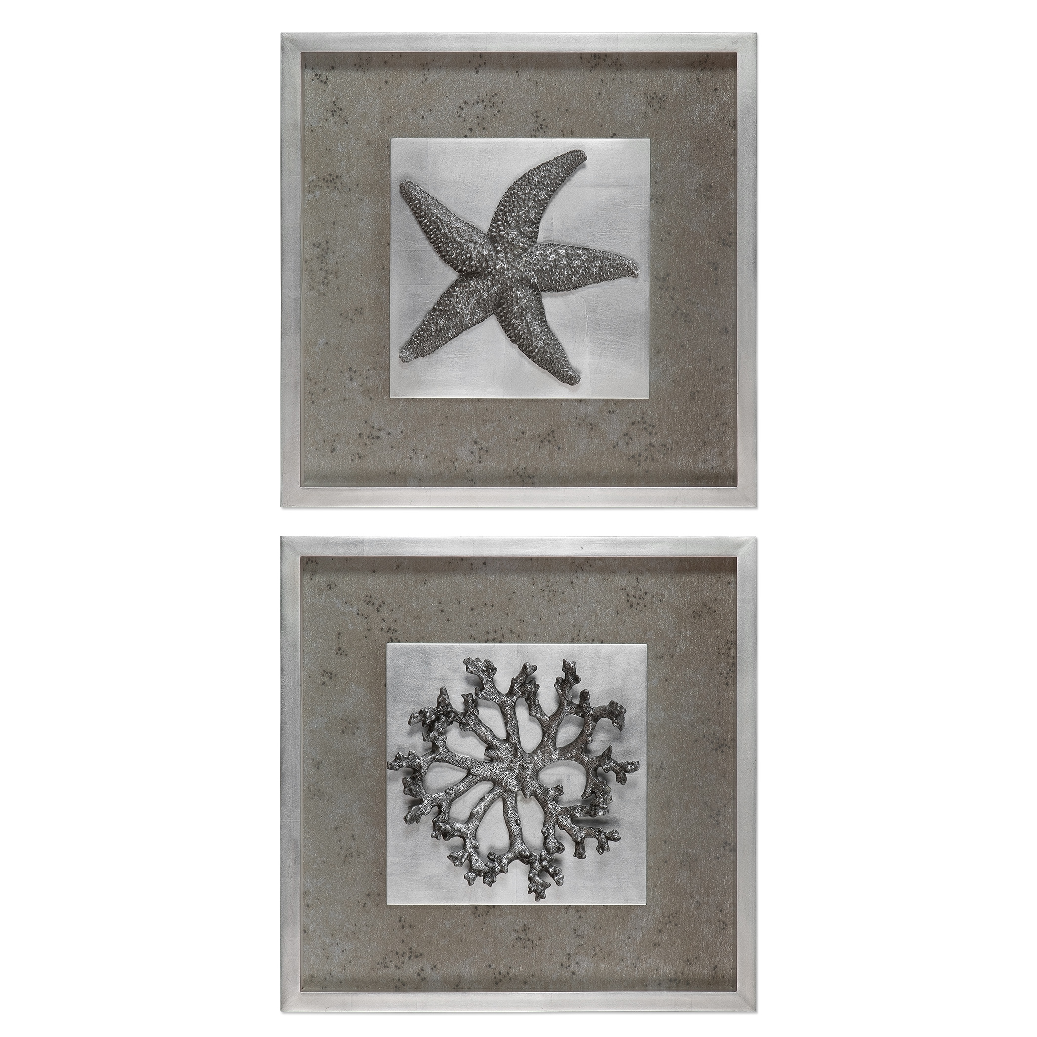 Uttermost Art Starfish & Coral Shadow Box Art, S/2 - Item Number: 41548