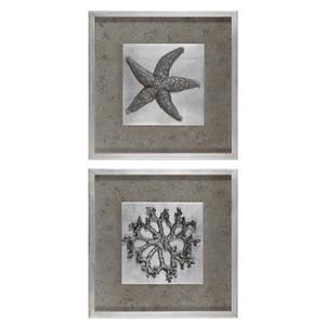 Uttermost Art Starfish & Coral Shadow Box Art, S/2