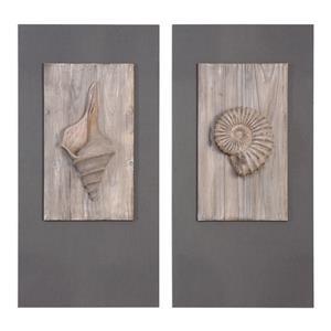 Uttermost Art Shell Sculpture Art, S/2