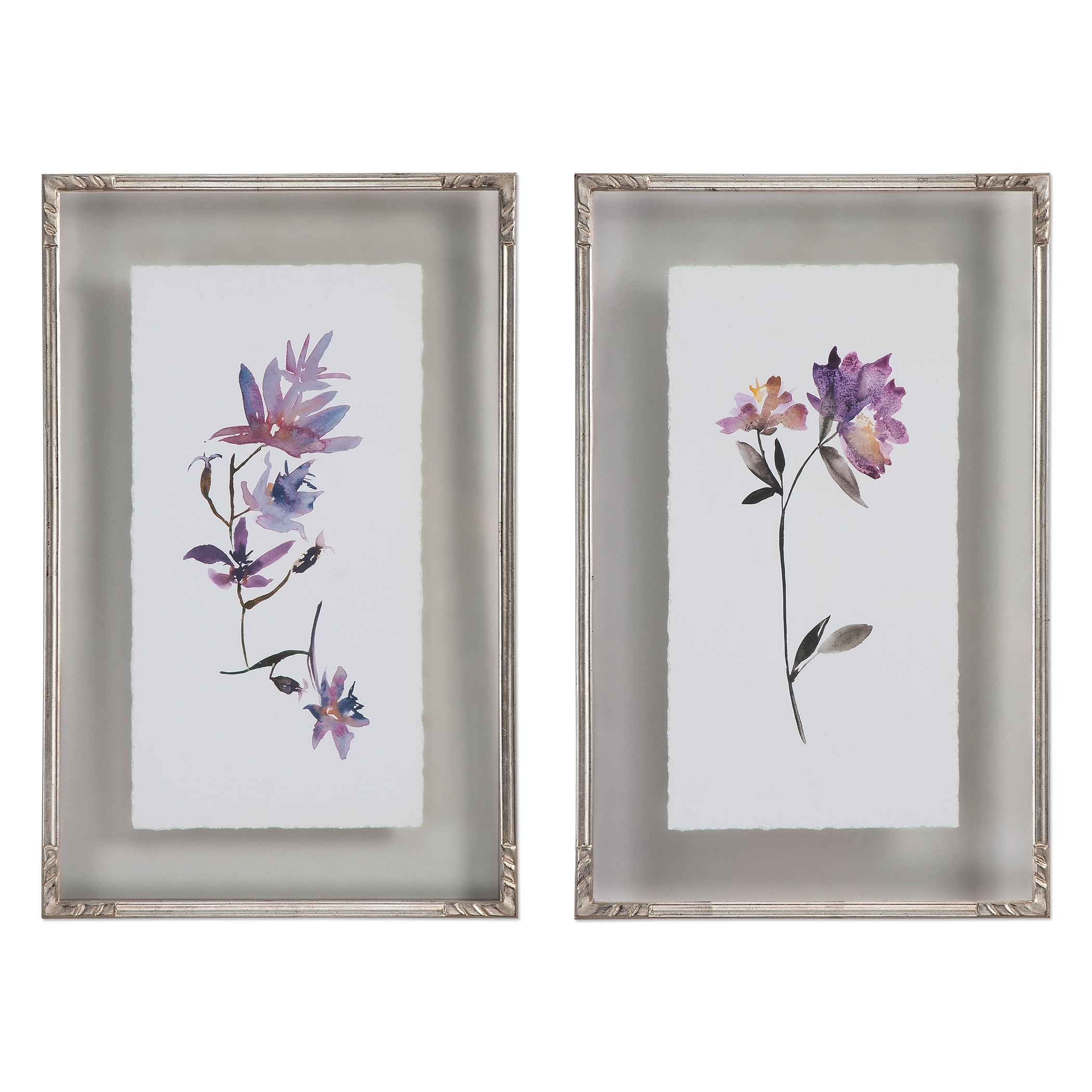 Uttermost Art Floral Watercolors Art, S/2 - Item Number: 41552