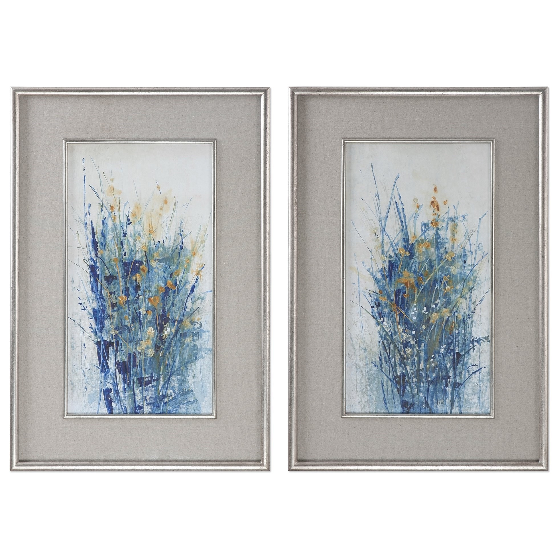 Uttermost Art Indigo Florals Framed Art S/2 - Item Number: 41558