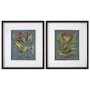 Uttermost Art Rhubarb And Artichoke Floral Prints (Set of